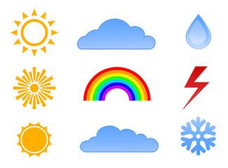 weather icon set - sun, cloud, rainbow and snowflake