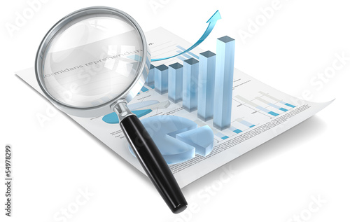 Analyze.Magnifying glass over Financial 3D Graph and pie chart
