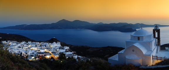 Church & village of Plaka at sunset, Milos, Cyclades, Greece