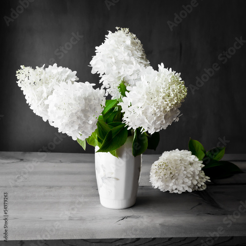 Foto op Canvas Hydrangea Bouquet of white hydrangea flowers on a dark grunge background.