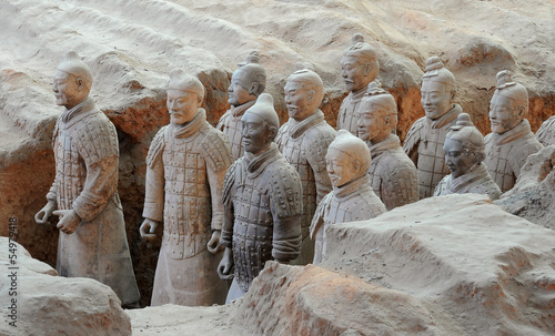 Plexiglas Xian Terracotta army warriors in Xian, China
