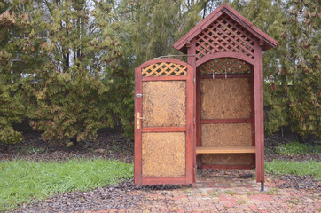 Wooden Locker Booth in the Fall