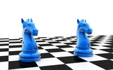 3d rendered knight chess pieces