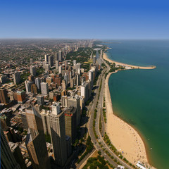 Oak Street Beach, viewed from the Hancock Observatory, Chicago