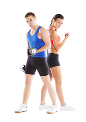 athletic man and woman