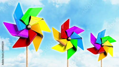 Rainbow Spinning Pinwheels on the Sky
