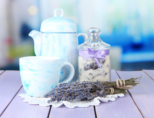 Jar of lavender sugar and fresh lavender flowers