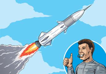 Rocket in sky