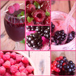 Collage of fresh berries.Raspberry smoothie and blackberry .