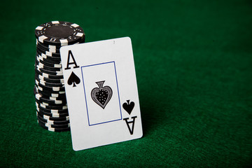 Poker chips with ace