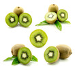 Sliced ​​fresh kiwi isolated background.