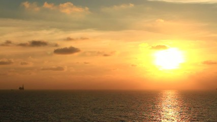 Beautiful Sun Set in The Middle of The Ocean