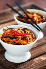 Marinated eggplant and carrot salad, selective focus