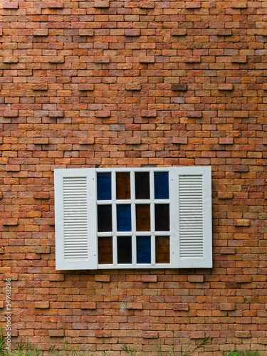 Fake White Window on Brick Wall