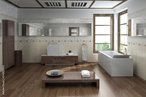Modern luxury bathroom interior with design bathtub and bench