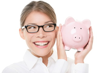 Glasses woman saving on eyewear showing piggy bank