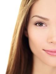 Beauty woman - perfect skin care closeup