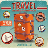 Vintage travel luggage poster with labels poster