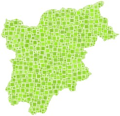 Map of Trentino Alto Adige in a mosaic of green squares