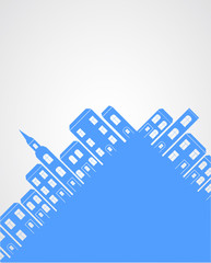 City silhouette background.