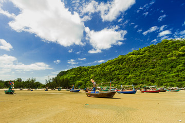 Fishing boats aground on the shore