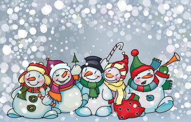 Vector of happy snowmen on snowfall background.