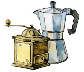 watercolor hand drawn coffee