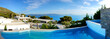 The panorama of sea view swimming pool in the luxury hotel, Pelo