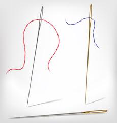 Isolated needle with thread. Vector illustrat