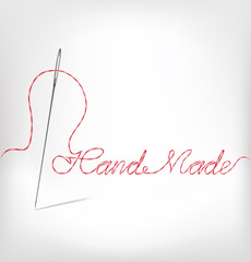 Needle with thread hand made. Vector illustrat