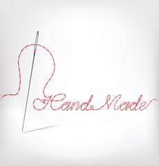 Needle with thread hand made. Vector illustrat