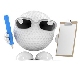 Golfball has a clipboard