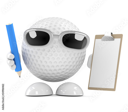 Golfball has a clipboard