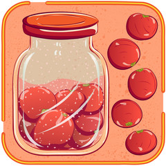 Canning. Pickled or marinated tomatoes. Vector illustration