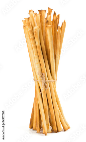 tied bread sticks isolated on white