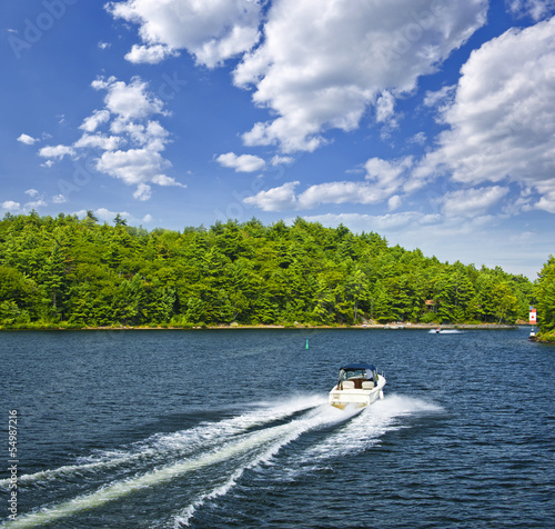 Boating on lake