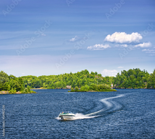 Woman boating on lake