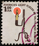 USA postage stamp, America's light fueled by truth and reason poster
