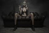 Blonde woman smoke