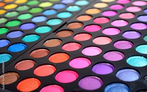 Eye shadows make-up palette close-up