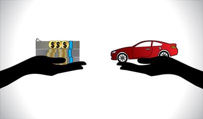 Car loan or Car Payment in us dollars hands Concept illustration