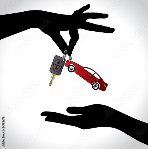 Red Car Sale Concept hands exchanging colorful automatic key