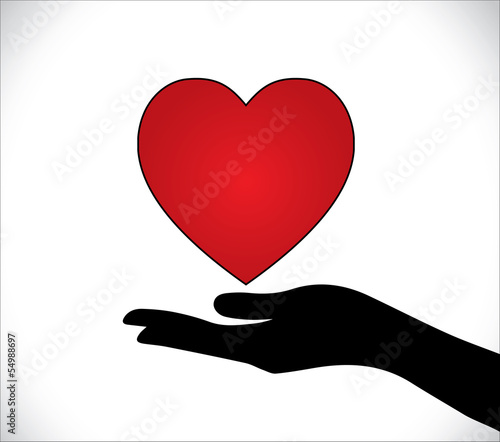Heart Care Love protection Hand Silhouette beautiful red heart