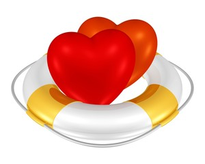 zwei Herzen im Rettungsring
