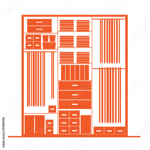 Wardrobe inside, illustration for your design