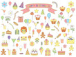 set of color birthday icons