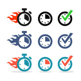 Web icons set. Time, stopwatch, clock