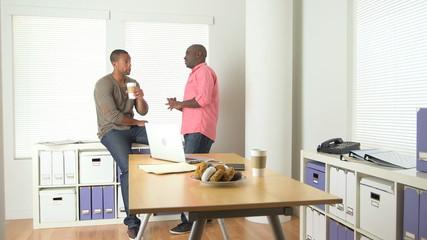 Two black businessmen working in office