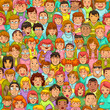 seamless pattern with cartoon people - 54991081