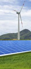 panneaux photovoltaïques et éolienne